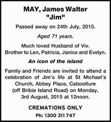 "MAY, James Walter ""Jim""