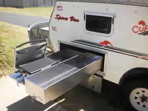 Top of range wind-out Camper Trailer.  Semi off-rd,  4 burner gas stove & grill,  3 way fridge,  twin beds converts to queen,  pull-out bbq & pantry.  Many other extras. $16 300 neg Ph: Peter 41247299 or John 41251174