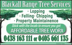Lopping  Felling  Chipping  Property Maintainence.   Stick with the locals to ensure you get AFFORDABLE TREE WORX
