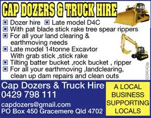 Dozer hire Late model D4C With pat blade stick rake tree spear rippers