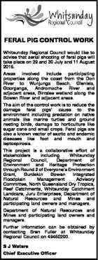 FERAL PIG CONTROL WORK Whitsunday Regional Council would like to advise that aerial shooting of feral pigs will take place on 29 and 30 July and 11 August 2015. Areas involved include participating properties along the coast from the Don River to Wunjunga Beach, Glenisla, Goorganga, Andromache River and adjacent ...