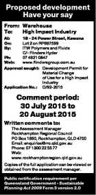 Proposed development Have your say From: Warehouse To: High Impact Industry At: On: By: 18 - 24 Power Street, Kawana Lot 2 on RP887599 ITW Polymers and Fluids C/- Flinders Hyder Ph: 07 4921 0847 Web: www.flindersgroup.com.au Approval sought: Development Permit for Material Change of Use for a ...