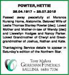 POWTER, HETTIE 26.04.1917  28.07.2015 Passed away peacefully at Maranoa Nursing Home, Alstonville. Beloved Wife of Leslie Thomas Stanley Powter (dec). Loved Mother and Mother-in-law of Wendy (dec) and Llewellyn Hodges and Nancy Parker. Loved Grandmother of Cheryl and Greatgrandmother of Joshua, Nathan and Kate. Thanksgiving Service ...