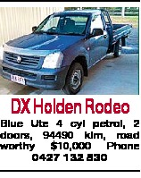 DX Holden Rodeo Blue Ute 4 cyl petrol, 2 doors, 94490 klm, road worthy $10,000 Phone 0427 132 830