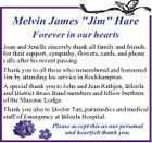 """Melvin James """"Jim"""" Hare Forever in our hearts Joan and Jenelle sincerely thank all family and friends for their support, sympathy, flowers, cards, and phone calls after his recent passing. Thank you to all those who remembered and honoured Jim by attending his service in Rockhampton. A special thank you ..."""