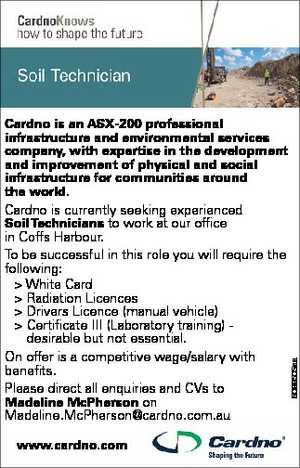 Cardno is an ASX-200 professional infrastructure and environmental services company, with expertise in the development and improvement of physical and social infrastructure for communities around the world. Cardno is currently seeking experienced Soil Technicians to work at our office in Coffs Harbour.   To be successful in this role you will ...