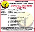 GRAFTON NGERRIE LOCAL ABORIGINAL LANDS COUNCIL AGENDA: Monday, 10th August 2015 6.00pm 50 Wharf Street, South Grafton 1. 2. 3. 4. 5. 6. 7. 8. Apologies Minutes previous meeting Membership Pacific Highway upgrade CLBP development Skeletal Remains repatriation Housing update CEO report Any other business placed on the agenda ...