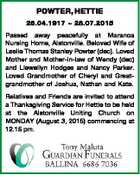 POWTER, HETTIE 26.04.1917  28.07.2015 Passed away peacefully at Maranoa Nursing Home, Alstonville. Beloved Wife of Leslie Thomas Stanley Powter (dec). Loved Mother and Mother-in-law of Wendy (dec) and Llewellyn Hodges and Nancy Parker. Loved Grandmother of Cheryl and Greatgrandmother of Joshua, Nathan and Kate. Relatives and ...