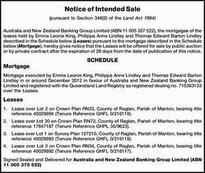 (pursuant to Section 346(2) of the Land Act 1994) Australia and New Zealand Banking Group Limited (ABN 11 005 357 522), the mortgagee of the leases held by Emma Leonie King, Philippa Anne Lindley and Thomas Edward Barton Lindley described in the Schedule below (Leases) pursuant to the mortgage ...