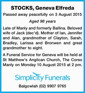 Passed away peacefully on 3 August 2015.