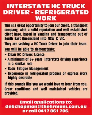 INTERSTATE HC TRUCK DRIVER - REFRIGERATED WORK 