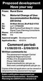 From: Rural Zone To: Material Change of Use: Accommodation Building (38 Units) At: 60 Main Street, Bluff QLD 4702 On: Lot 1 CP866898 By: Bluff Central Park Motel C/- Urban Planet Town Planning Consultants Phone: (07) 41282 888 Web: n/a Approval sought: Development Permit Application No.: 4010/14 Comment ...