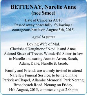 Late of Canberra ACT. Passed away peacefully, following a courageous battle on August 5th, 2015. Aged 54 years Loving Wife of Mal. Cherished Daughter of Neville and Anne. Adored Sister of Trevor. Wonderful Sister-in-law to Narelle and caring Aunt to Arron, Sarah, Adam, Dane, Narelle & Jacob. Family and Friends are ...