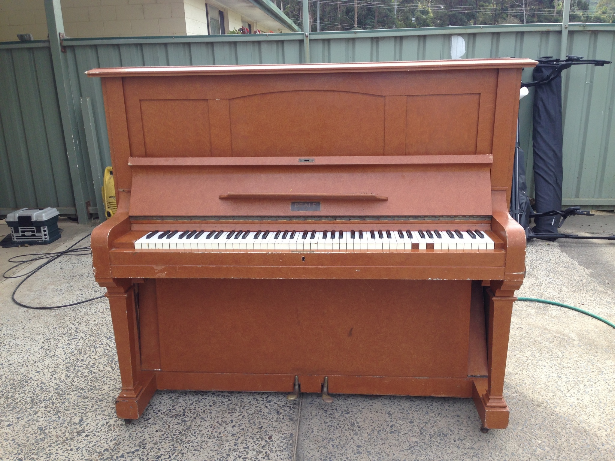 An old cast iron Beale piano for sale. Pick up only.