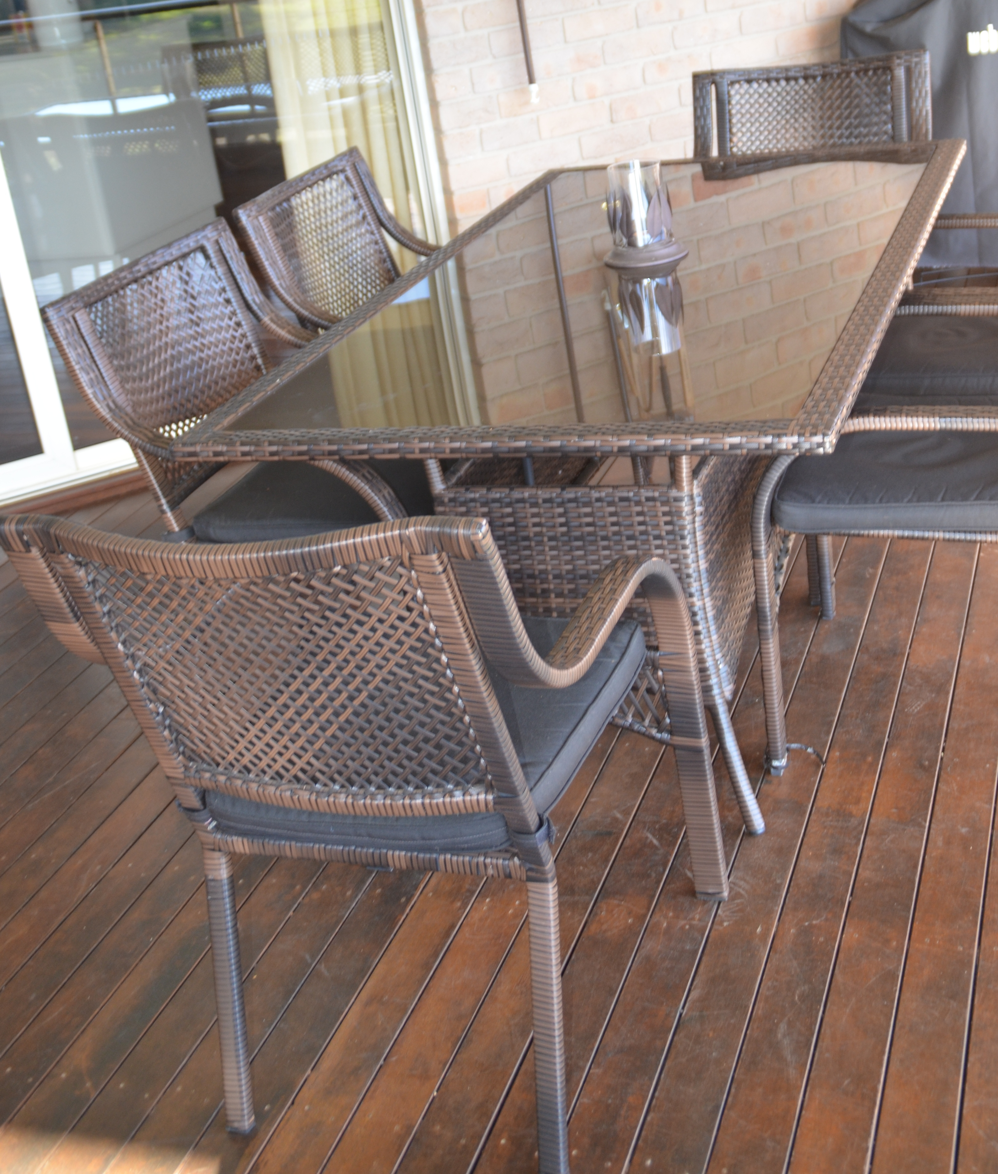 Glass Top 2.80M X 1M  Rattan Six Chairs with arms & Cushions