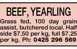 BEEF, YEARLING