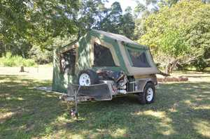 Camper Trailer galvanised    excellent condition.  Heavy duty canvas with annex.  Hot and cold water and filter.  Electric water pump.  New tyres on Sunraysia rims with electric brakes.  Fold out stove and includes camping table etc.   $6,000   Tinbeerwah