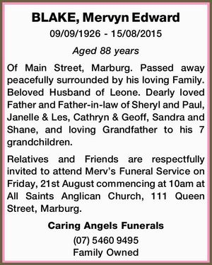 BLAKE, Mervyn Edward