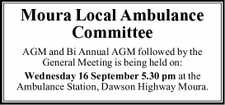 AGM and Bi Annual AGM followed by the General Meeting is being held on: Wednesday 16 September 5.30 pm at the Ambulance Station, Dawson Highway Moura.