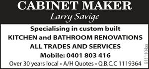 Specialising in custom built Kitchen and Bathroom Renovations ALL TRADES AND SERVICES Mobile: 0401803416 Over 30 years local A/H Quotes Q.B.C.C 1119364