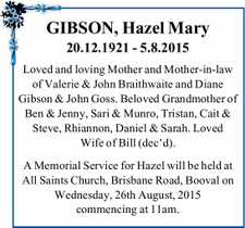 GIBSON, Hazel Mary