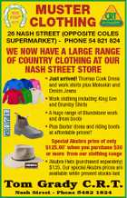 MUSTER CLOTHING 26 NASH STREET (OPPOSITE COLES SUPERMARKET) - PHONE 54 821 824 WE NOW HAVE A LARGE RANGE OF COUNTRY CLOTHING AT OUR NASH STREET STORE 6105595ab * Just arrived! Thomas Cook Dress and work shirts plus Moleskin and Denim Jeans * Work clothing including King Gee and Brumby Shirts * A huge ...