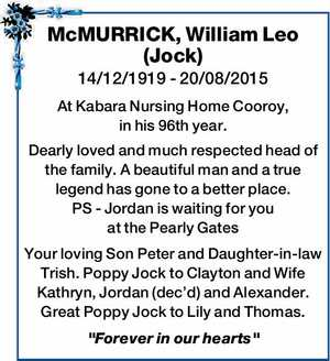 McMURRICK, William Leo (Jock)