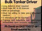 Bulk Tanker Driver