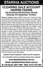 Stariha Auctions   Harris Farms   330 Grantham Winwill Road, WInwill   Saturday 5th september 10am   Dvid 3207 5961 Mobike 0412 704 456