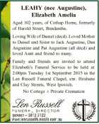 LEAHY (nee Augustine), Elizabeth Amelia Aged 102 years, of Cothup Home, formerly of Harold Street, Bundamba. Loving Wife of Daniel (decd). Loved Mother to Daniel and Sister to Jack Augustine, Dan Augustine and Pat Augustine (all decd) and loved Aunt and friend to many. Family and friends are invited to ...