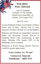 WILMOT, Peter Edward Late of Carramar, formerly of The Summit. Passed away peacefully on Sunday 23rd August 2015 Aged 80 years. Loving Husband of Gaye, loved Father of Brian, Kevin and Jo-Anne. Adored Pop to their respective Families. Brother to Len and Daphne. Relatives and Friends are respectfully invited to ...