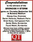 Congratulations to the winners of the BRONCOS V STORM game on Thursday September 3rd at Suncorp Stadium Stacey Cox, Riverview Darren Hollands, Redbank Plains Mirek Koloc, Collingwood Park Sandy Waite, Bundamba Fauve Walsh, Bundamba Winners have been notified, passes must be collected from Qld Times office by 12.00pm September ...
