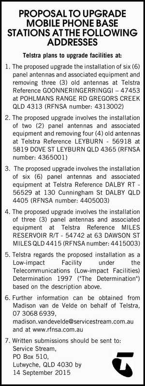 Telstra plans to upgrade facilities at: 1.The proposed upgrade the installation of six (6) panel antennas and associated equipment and removing three (3) old antennas at Telstra Reference GOONNERINGERRINGGI – 47453 at POHLMANS RANGE RD GREGORS CREEK QLD 4313 (RFNSA number: 4313002) 2.The proposed upgrade involves the installation of ...