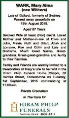 WARK, Mary Alma (nee Withers) Late of Ballard, formerly of Sydney. Passed away peacefully on 19th August 2015. Aged 87 Years Beloved Wife of Isaac (Ron) dec'd. Loved Mother and Mother-in-law of Olive and John, Mavis, Ruth and Brian, Allan and Lorraine, Rae and Colin and Lois and Grahame ...