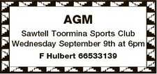 AGM Sawtell Toormina Sports Club Wednesday September 9th at 6pm