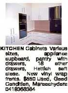 KITCHEN Cabinets Various sizes, appliance cupboard, pantry with drawers, 18 other drawers, Hettich soft close. New vinyl wrap fronts. $550 Used, Good Condition, Maroochydore 0418368384