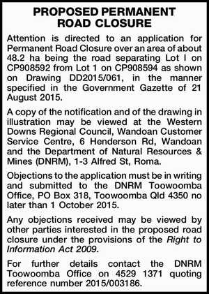 Attention is directed to an application for Permanent Road Closure over an area of about 48.2 ha being the road separating Lot I on CP908592 from Lot 1 on CP908594 as shown on Drawing DD2015/061, in the manner specified in the Government Gazette of 21 August 2015. A ...