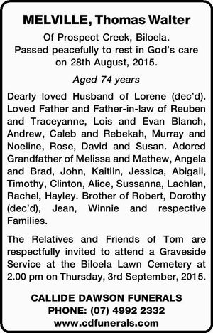 MELVILLE, Thomas Walter
