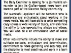 [Opportunities with APN] Cadet Reporter / Photographer Are you looking to make your mark on a vibrant newsroom and contribute to successful print and online products? The Daily Examiner is looking for a journalistic allrounder to join its Grafton-based news team and become part of the Clarence Valley community The successful ...