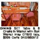 DINING SET Table & 6 Chairs in Walnut with Burl Walnut Inlay C1920 Italy, $995 Coffs 0402880512