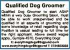 Qualified Dog Groomer Qualified Dog Groomer to start ASAP within a very busy Grooming Salon, must be able to work unsupervised and be qualified in all aspects of grooming and some knowledge of retail regarding dogs. Position is casual leading to full time for the right applicant. Above award wages ...