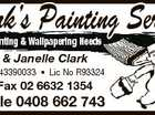 Clark's Painting Service Vic & Janelle Clark ABN 91043390033 * Lic No R93324 Ph/Fax 02 6632 1354 Mobile 0408 662 743 6094608aa For all Painting & Wallpapering Needs