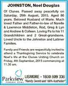 JOHNSTON, Noel Douglas Of Clunes. Passed away peacefully on Saturday, 29th August, 2015. Aged 86 years. Beloved Husband of Marie. Much loved Father and Father-in-law of Narelle & Lawrence Middleton, Rod, Greg & Lyn and Andrew & Colleen. Loving Pa to his 11 Grandchildren and 2 Great-grandsons. Loved Uncle to the Johnston and ...