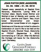 JOAN PATCH (NEE JAGGERS) 24. 06. 1926  01. 09. 2015 Passed away peacefully at Baptist Care Maranoa, Alstonville. Loving Wife of Franklyn (dec). Dearly loved Mother and Mother-in-law of Wendy and Lawrie, Jim and Ruth, Jennine and Gavin. Very much loved Grandmother and Greatgrandmother. Loved Sister of Jim Jaggers. Relatives ...