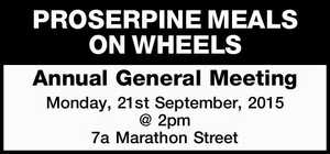 Annual General Meeting Monday, 21st September, 2015 @ 2pm 7a Marathon Street