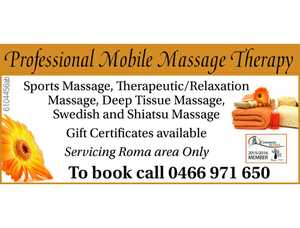 Servicing Roma area Only  To book call 0466 971 650 Services:     Sports Massage  Therapeutic/Relaxation Massage  Deep Tissue Massage  Swedish and Shiatsu Massage    Gift Certifcates available!   http://cbmobilemassage.weebly.com/