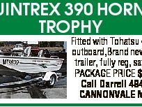 QUINTREX 390 HORNET TROPHY Fitted with Tohatsu 40hp TLDI outboard,Brand new Quintrex trailer, fully reg, safety gear. PACKAGE PRICE $8990-00 Call Darrell 49466136 CANNONVALE MARINE
