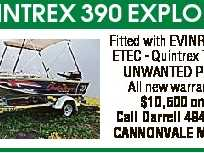 QUINTREX 390 EXPLORER Fitted with EVINRUDE 25 ETEC - Quintrex Trailer UNWANTED PRIZE. All new warranties $10,500 ono. Call Darrell 49466136 CANNONVALE MARINE