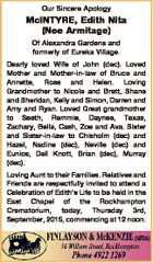 Our Sincere Apology McINTYRE, Edith Nita (Nee Armitage) Of Alexandra Gardens and formerly of Eureka Village. Dearly loved Wife of John (dec). Loved Mother and Mother-in-law of Bruce and Annette, Ross and Helen. Loving Grandmother to Nicole and Brett, Shane and Sheridan, Kelly and Simon, Darren and Amy and Ryan ...