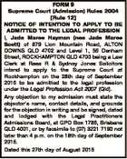 FORM 9 Supreme Court (Admission) Rules 2004 [Rule 12] NOTICE OF INTENTION TO APPLY TO BE ADMITTED TO THE LEGAL PROFESSION I, Jade Maree Hayman (nee Jade Maree Scott) of 879 Lion Mountain Road, ALTON DOWNS QLD 4702 and Level 1, 55 Denham Street, ROCKHAMPTON QLD 4700 being a Law ...